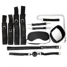 Черный текстильный набор БДСМ: наручники, оковы, ошейник с поводком, кляп, маска, плеть