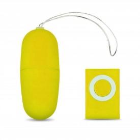Желтое виброяйцо с пультом управления - 7 см.