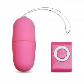 Розовое виброяйцо с пультом управления - 7 см.